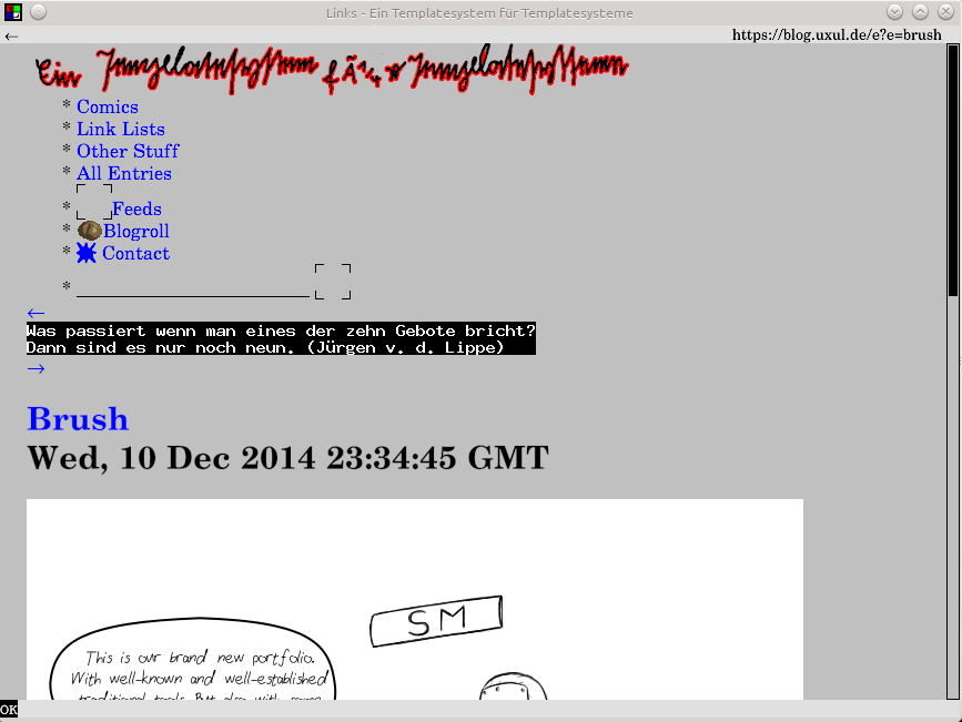 Screenshot of the links2 in graphical mode showing a comic from uxul.de