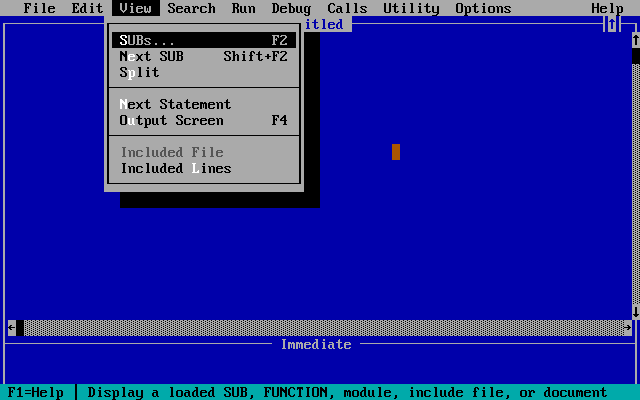 Screenshot of Quick Basic.