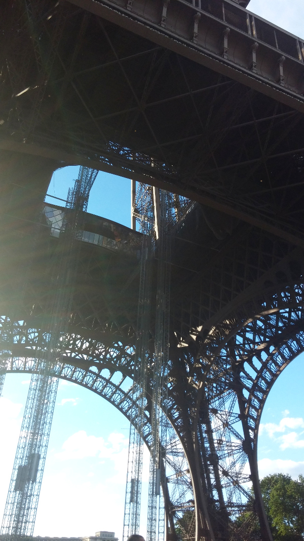 Picture from below the Eiffel tower.