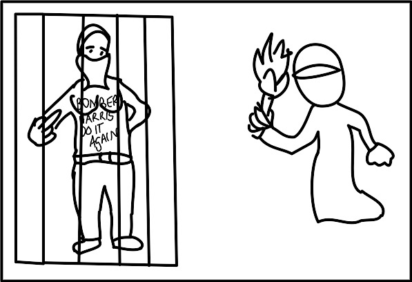 "A female antifa-protester with bare breasts is shown, having the words ""Bomber Harris do it again"" on her torso, and flipping the bird. She is in a cage. Next to her is a covered person (terrorist) holding a torch."