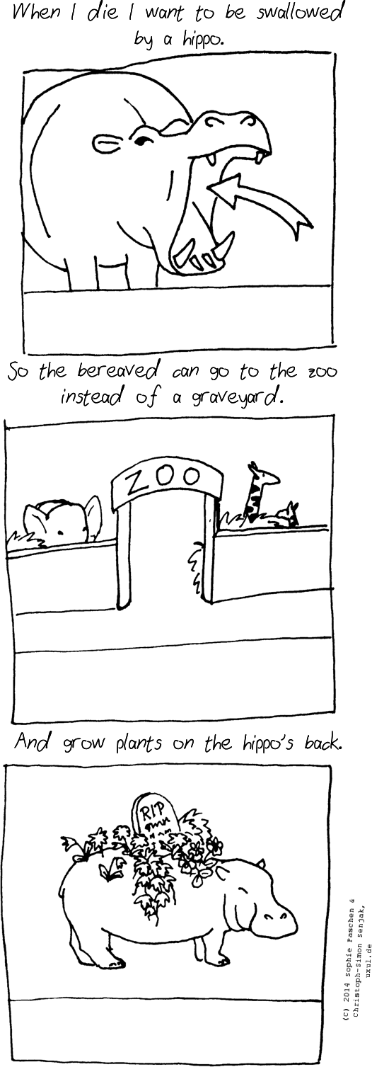 "Panel 1: Title: ""When I die I want to be swallowed by a hippo"". A hippo with an open mouth is shown, an arrow pointing into the mouth. -- Panel 2: Title: ""So the bereaved can go to the zoo instead of a graveyard"". A zoo entrance is shown, an elephant and a giraffe is visible over the fence. -- Panel 3: Title: ""And grow plants on the hippo's back"". A hippo is shown with flowers and a tombstone on his back."