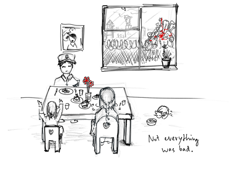 "A man, a woman and a small child sitting at a table with flowers and food on it. Next to them, a cat with a feeding bowl. In the background, a picture of Adolf Hitler, and a window decorated with a flower. Through the window, a barbed wire fence is shown, behind it, some towers and a pile of dead corpses. Subtitle: ""Not everything was bad."""